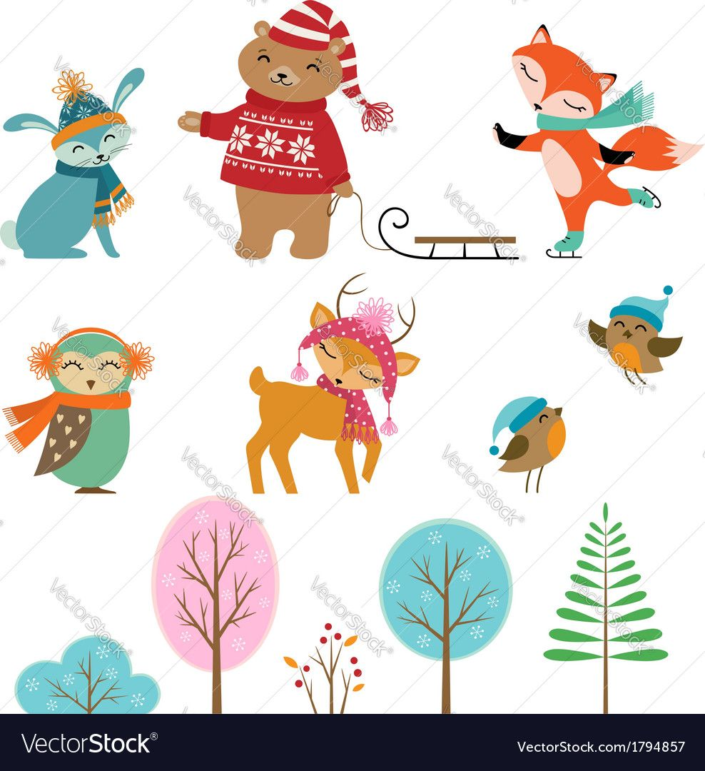 Set of cute winter animals and trees for your design download a