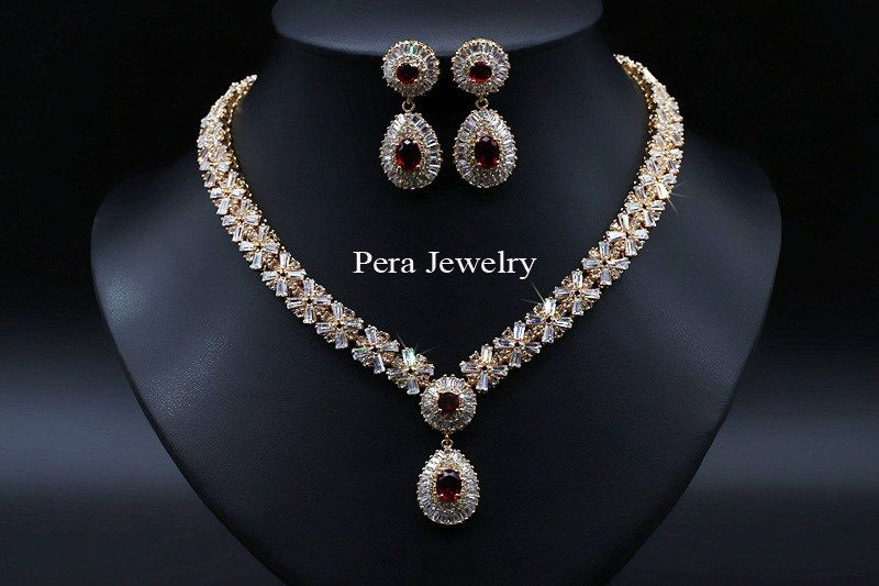 Gold red stone Aliexpress jewelry Wedding Boutique Pinterest