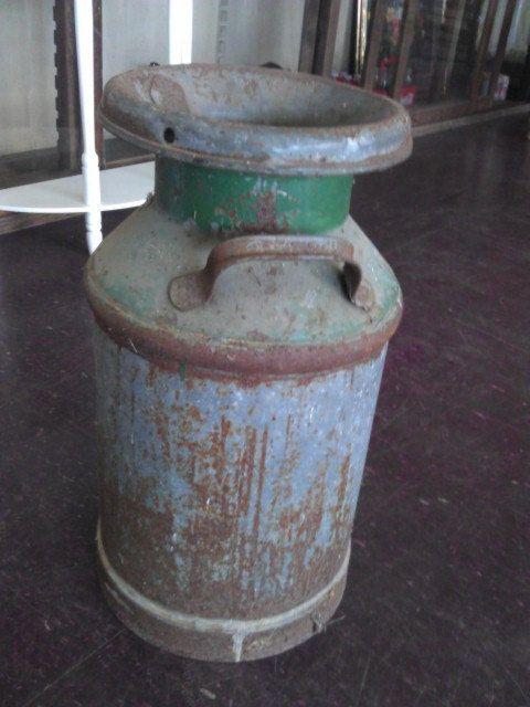 Vintage Metal Milk Can with Lid