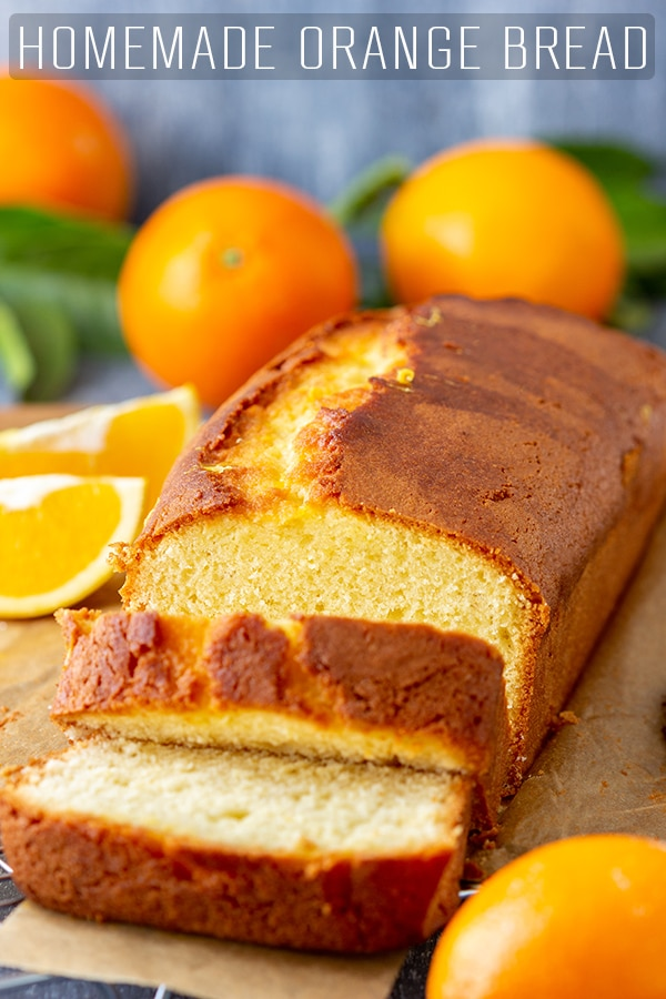 A slice of homemade orange bread is the perfect treat for breakfast or coffee break. Delicious on its own but addictive with a generous layer of butter and your favorite jam. Orange Loaf Cake. #happyfoodstube #orange #bread #recipe #baking #quickbread #breakfast #loaf #cake #sweet
