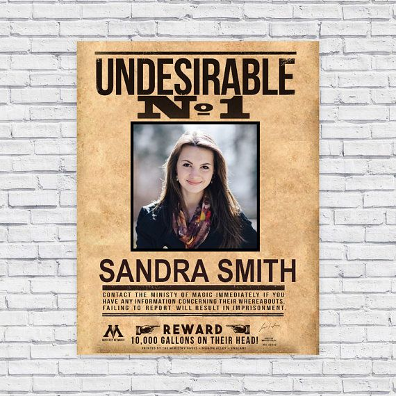 Undesirable No 1 Harry Potter Poster Template Wall Art Bachelorette Party Ideas Birthday Print