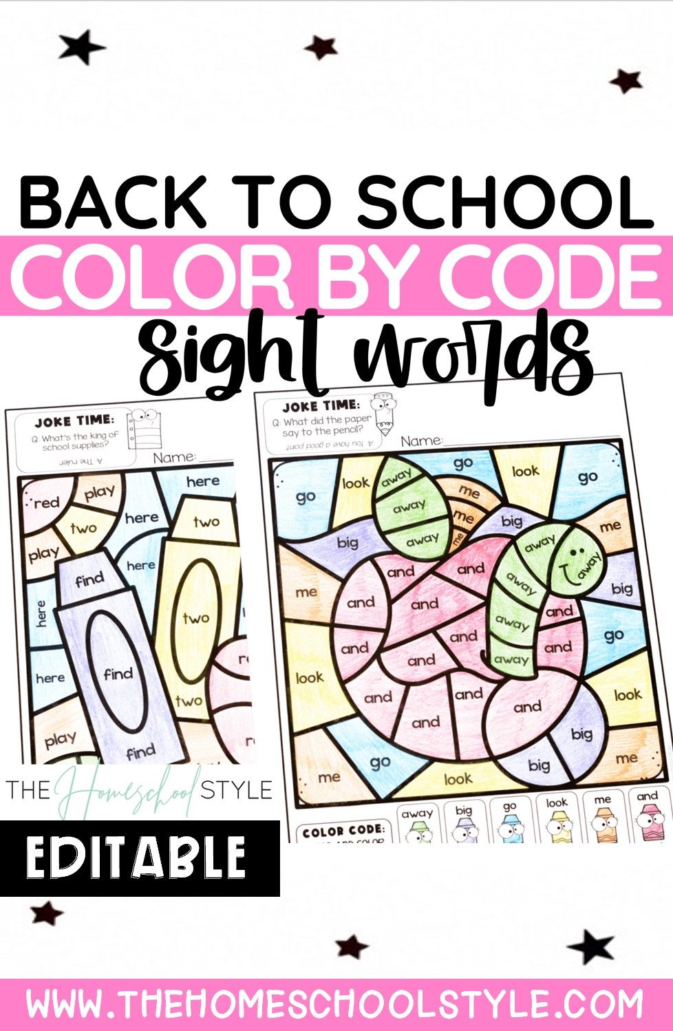 Color by Sight Word | Color by Code | Back to School ...