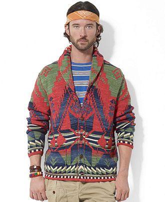 Polo Ralph Lauren Sweater, Long Sleeve Print Shawl Collar Cardigan ...