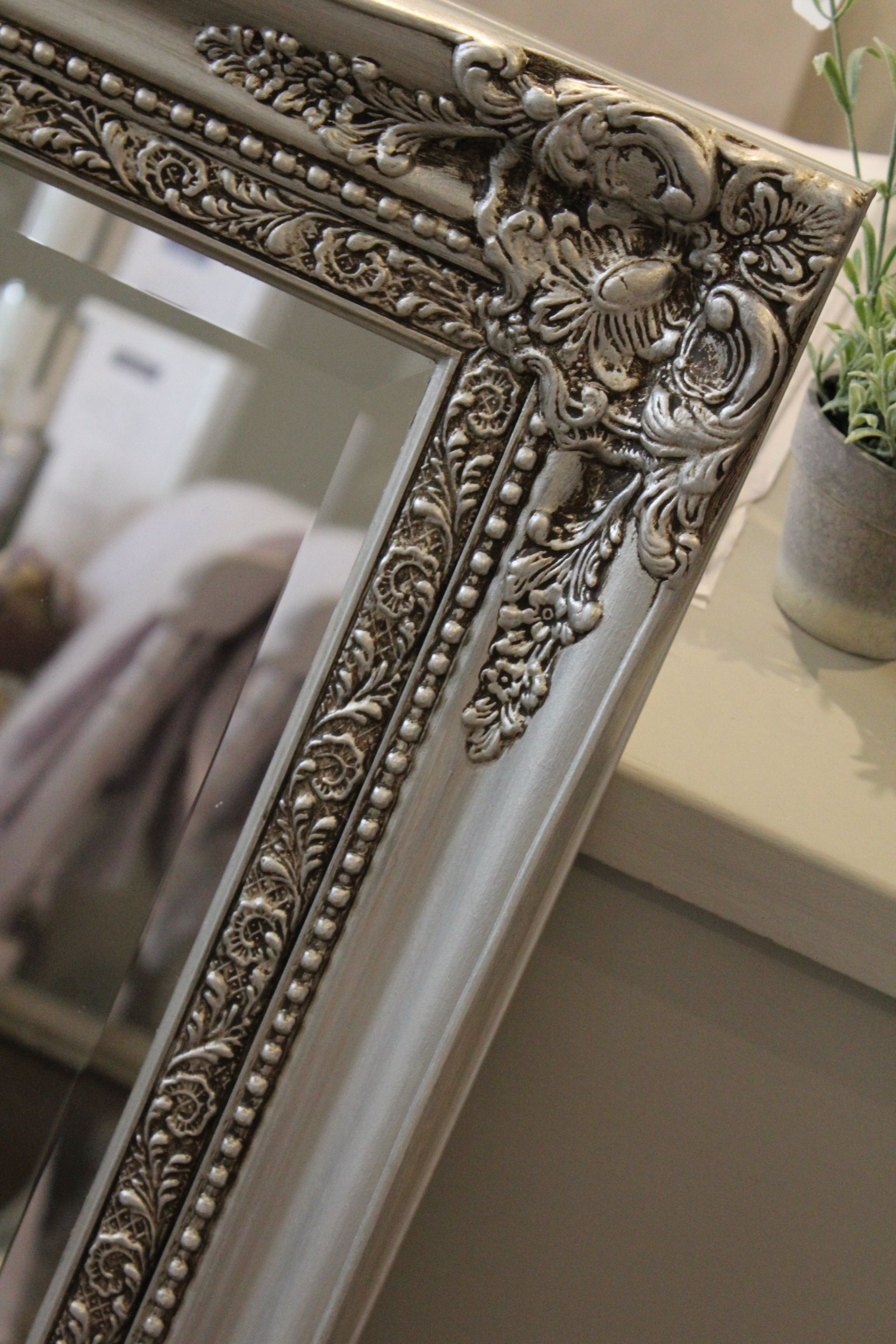 after hand painted mirror in autentico metallic silver with dark brown wax detail tablescapes. Black Bedroom Furniture Sets. Home Design Ideas