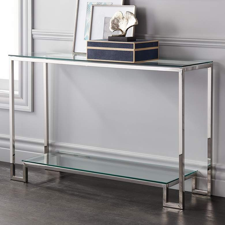 Krista 47 1 2 Wide Modern Glass Console Table 1m507 Lamps