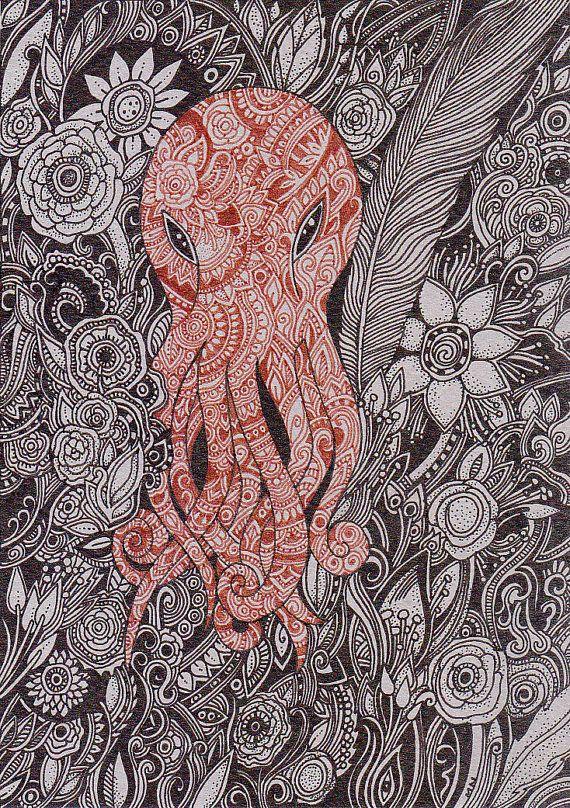 Christmas In Octopus Garden >> Octopus S Garden Drawing By Megan Noel By Meinoel On Etsy 50 00
