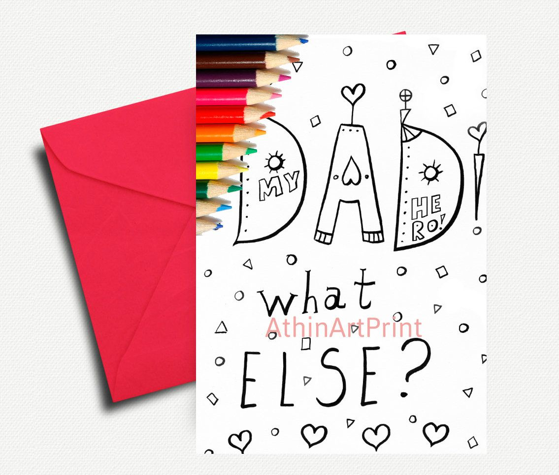 Kids Coloring Cards Greeting Cards Father S Day Card Coloring Card Coloring Book Kids Coloring Digital Coloring Instant Download Coloring Books Coloring For Kids Color Card