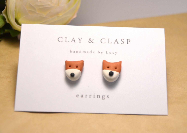 Fox earrings - beautiful handmade polymer clay jewellery by Clay and Clasp. $20.00, via Etsy.