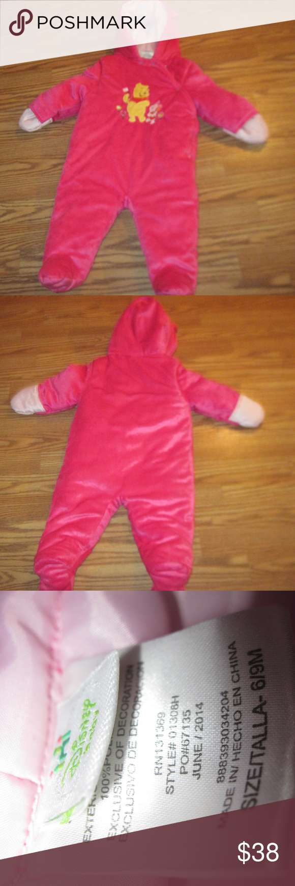 6e7aa4743246 Disney WINNIE THE POOH Baby Winter Jumpsuit 6 9M