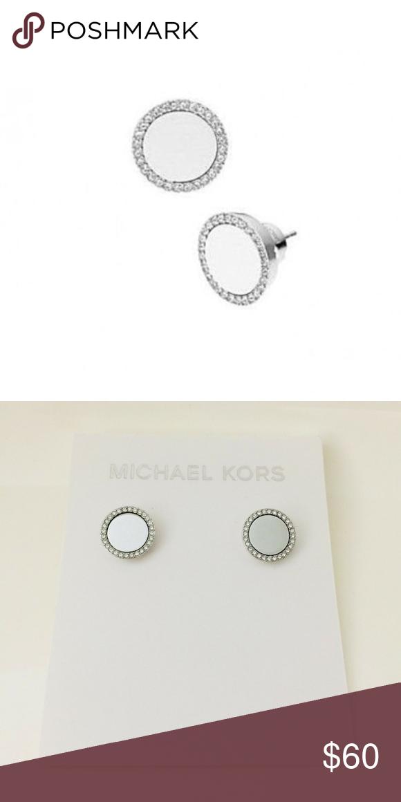 6da2381c6dd4a NWT Michael Kors silver tone crystal stud earrings Description Item ...