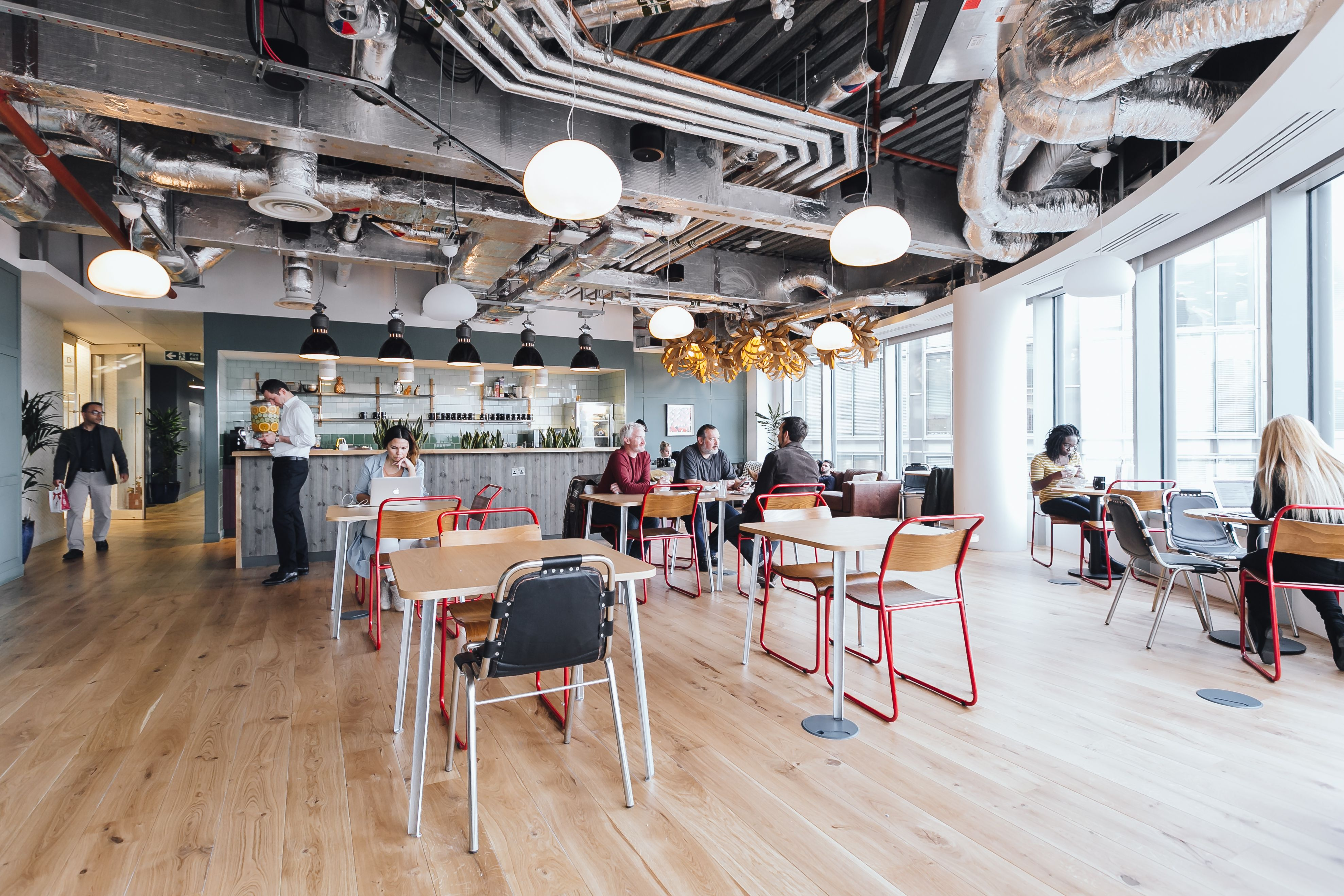 Coworking Office Space In London Wework Spitalfields Community Space Design Office Interiors Modern Office Design