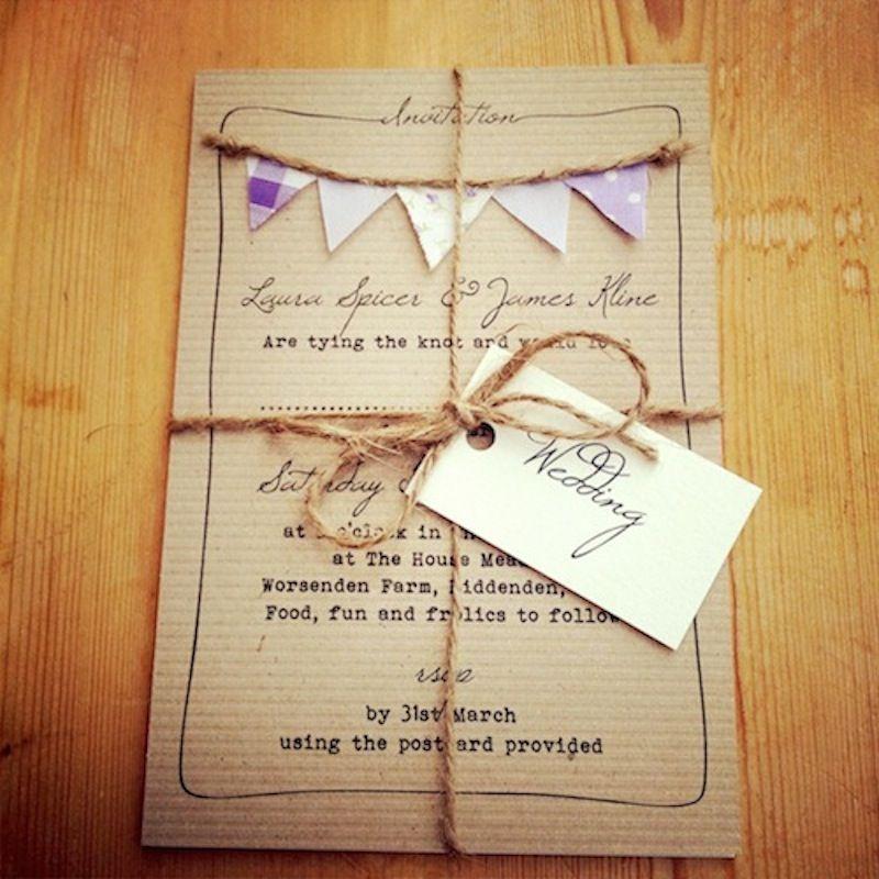 Purple lilac bunting wedding invitation | Weddings | Pinterest ...