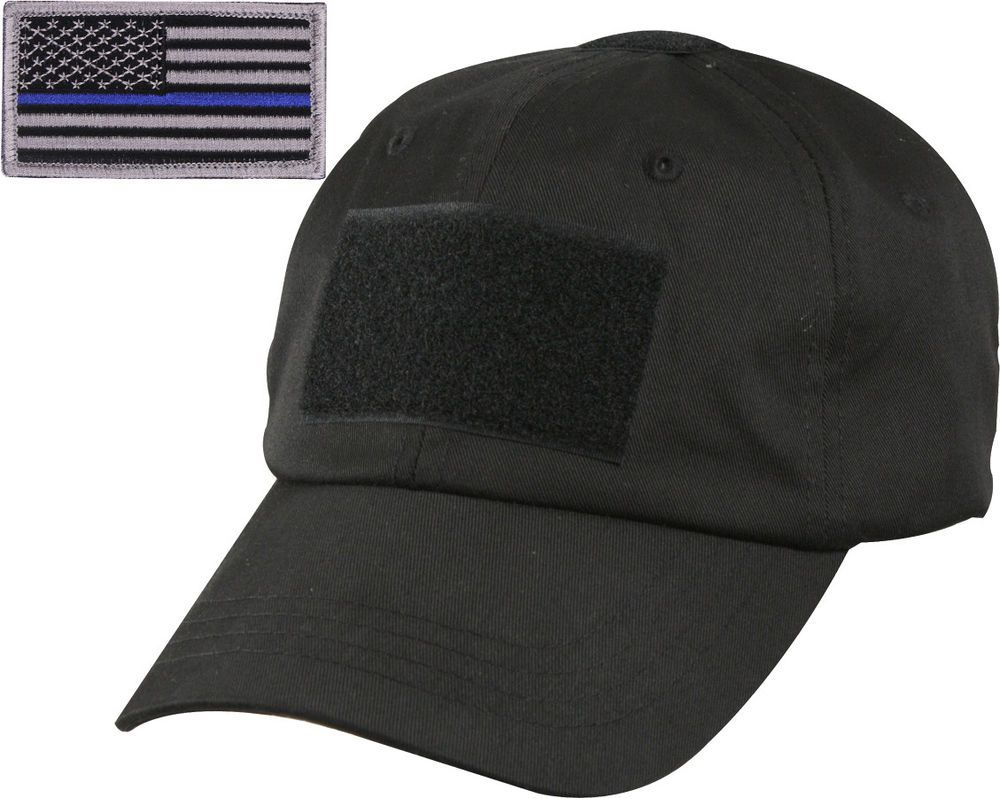 Black Tactical Operator Cap with Removable Thin Blue Line USA Flag Patch   ArmyUniverse  OperatorCap 27c43210e5a