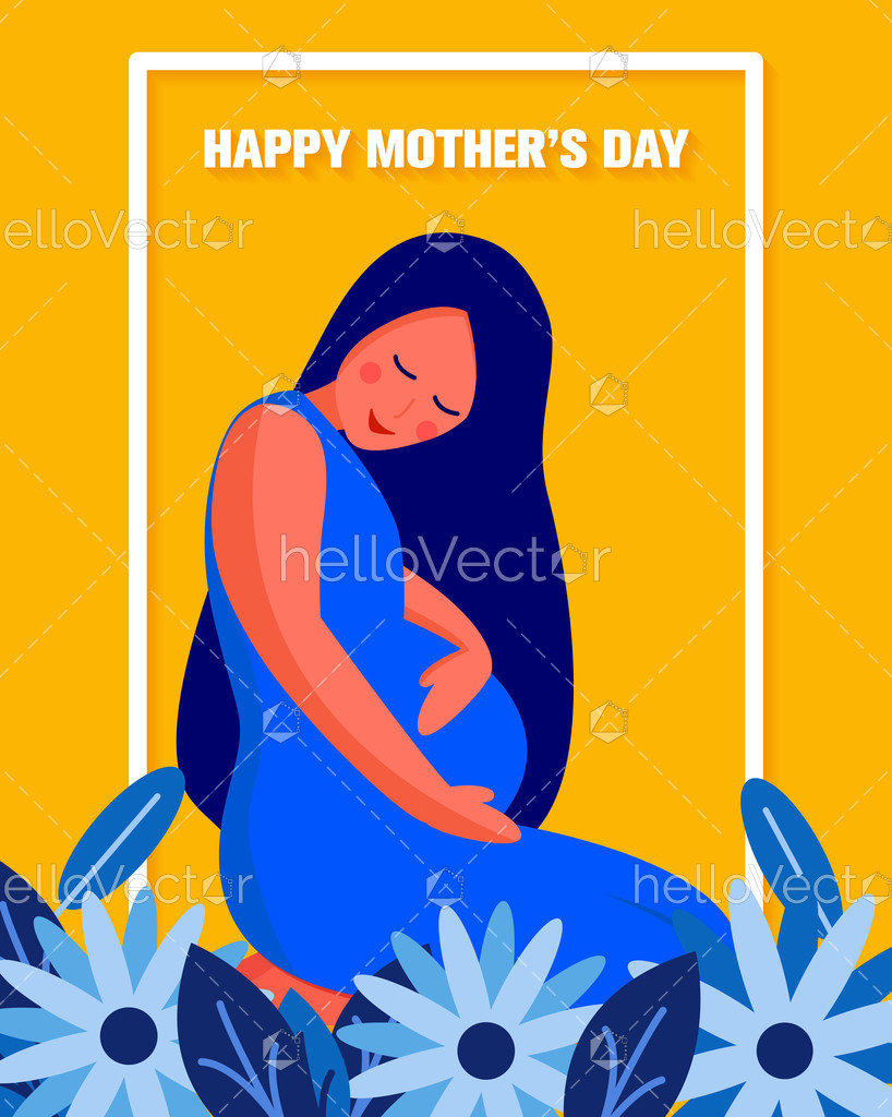 Happy Mother S Day Background With Pregnant Woman Graphic Download Graphics Vectors Mother S Day Background Happy Mothers Day Happy Mothers