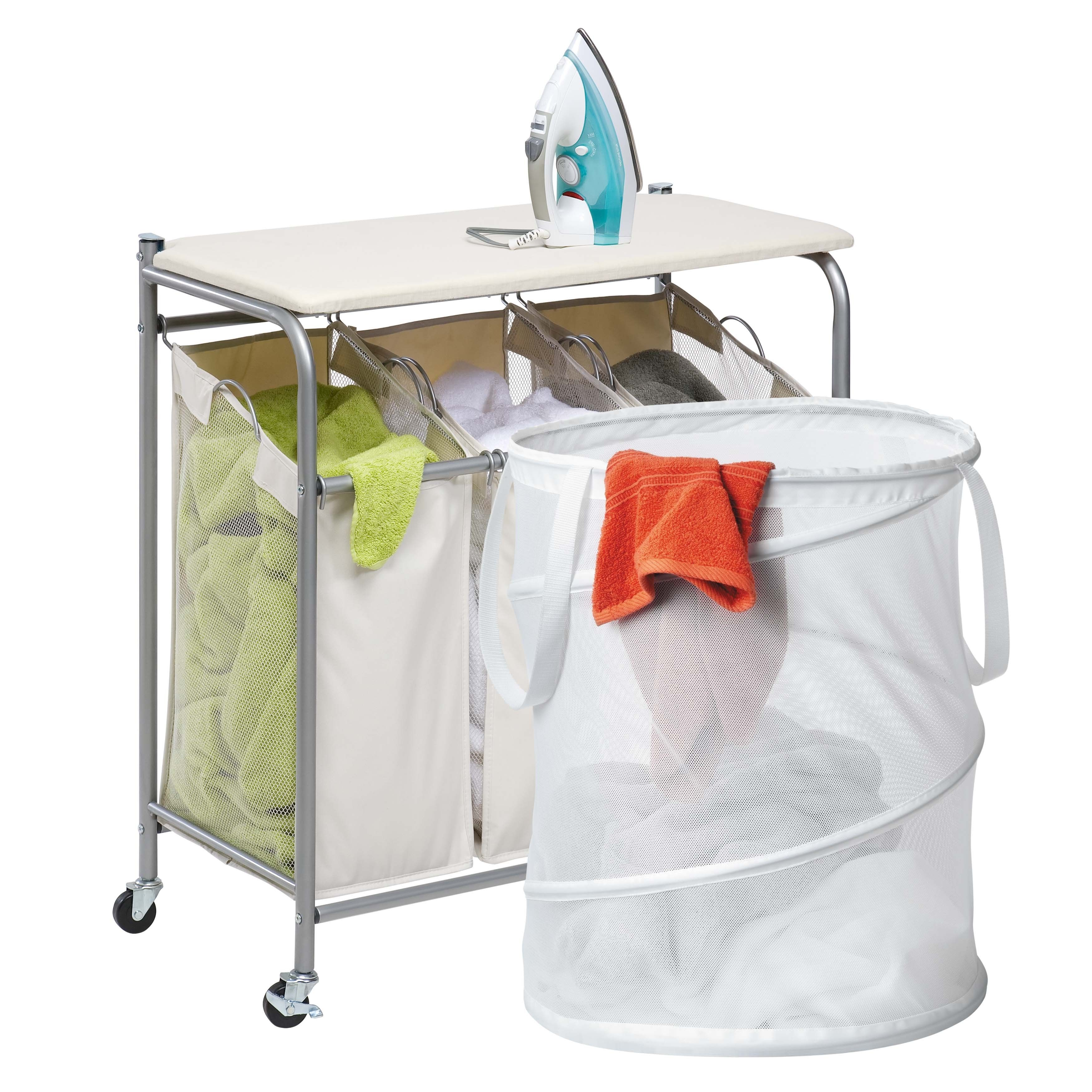 Honey Can Do Triple Laundry Sorter With Ironing Board And Pop Up