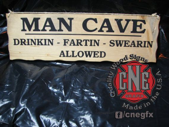 Homemade Man Cave Signs : Man cave painted wood sign by cnegrafix on etsy