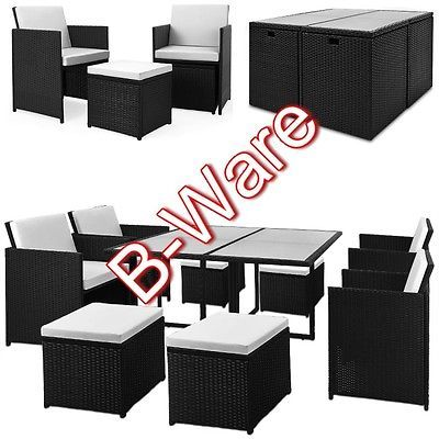 B Ware Poly Rattan Sitzgruppe 21tlg Tisch Gartenmobel Stuhl