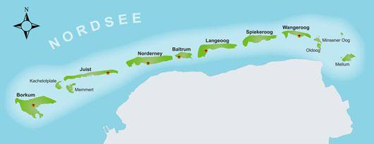Karte Der Ostfriesischen Inseln Ostfriesische Inseln Insel Nordsee