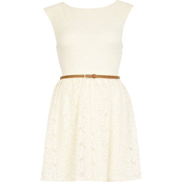 River Island White Lace Skater Dress ❤ liked on Polyvore