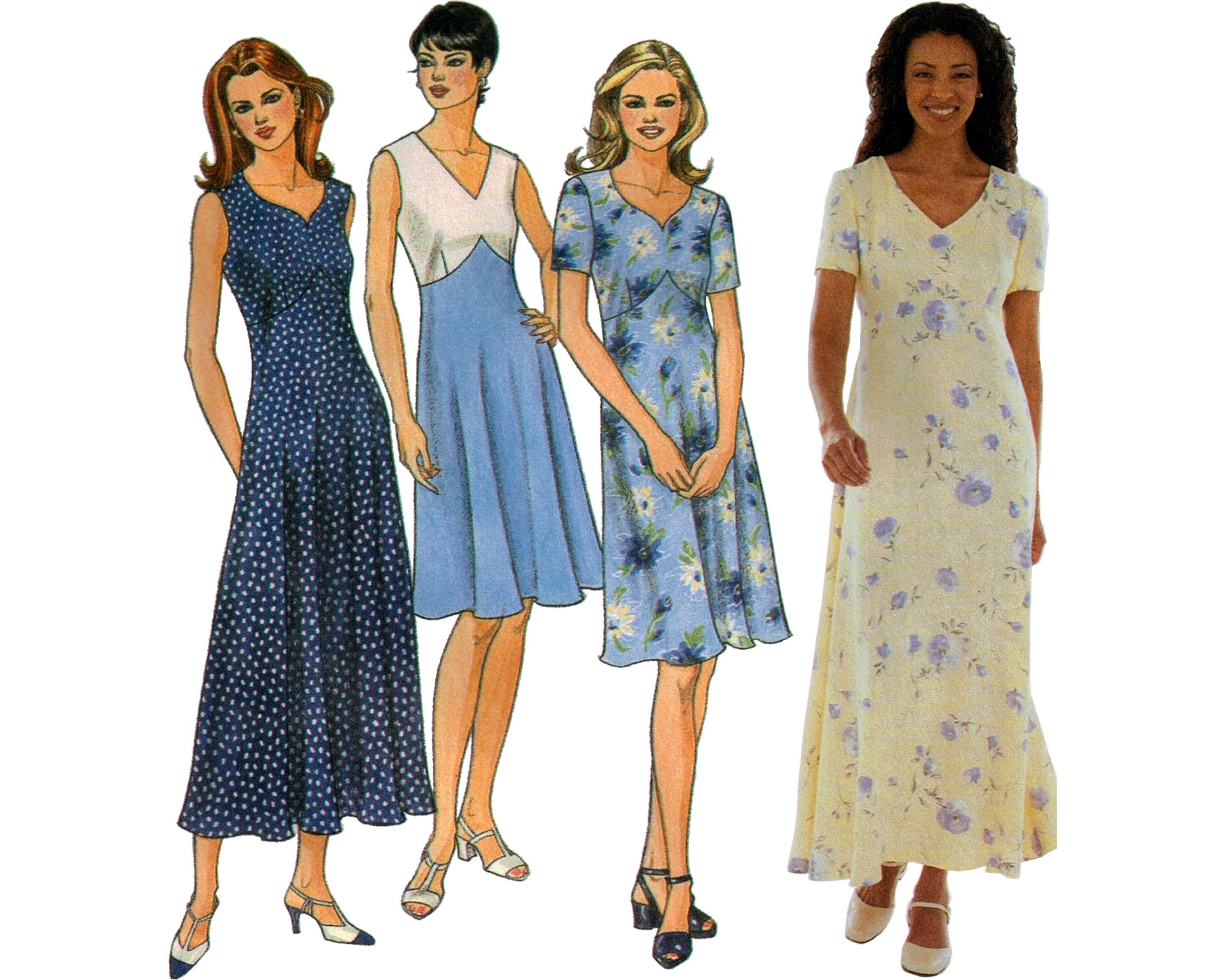 Simplicity 8504 90s Summer Dresses Sweetheart Neck Fit And Etsy Spring Dresses Women Fashion Fit And Flare Dress [ 2400 x 3000 Pixel ]