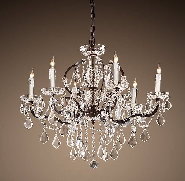 19th C Rococo Iron Clear Crystal Round Chandelier 28 Crystal