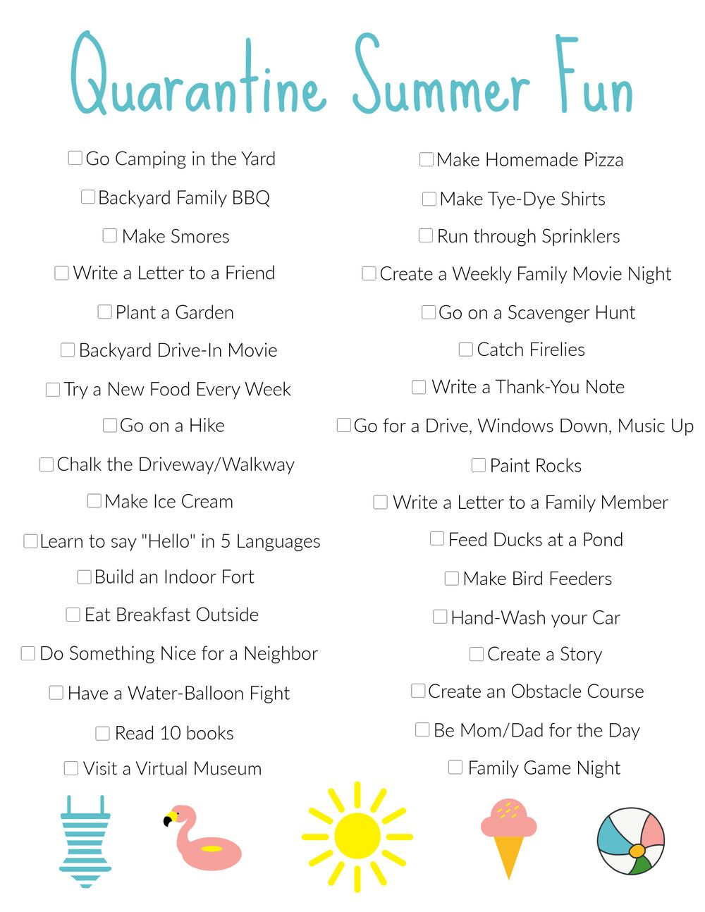 35 Things To Make A Stay Home Summer Fun The Chatham Collective Summer Fun List Summer Fun Summer Activities For Kids