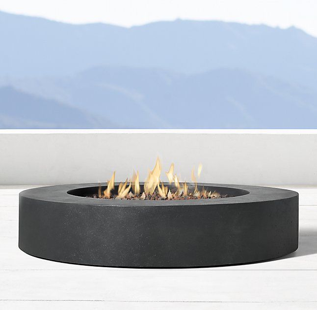 Topanga Natural Gas Round Fire Table Restoration Hardware Outdoor Fire Pit Fire Table Cool Fire Pits