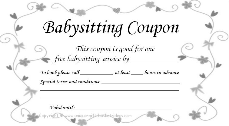 image about Babysitting Coupon Printable identify Absolutely free+Babysitting+Coupon+Template beds Coupon template
