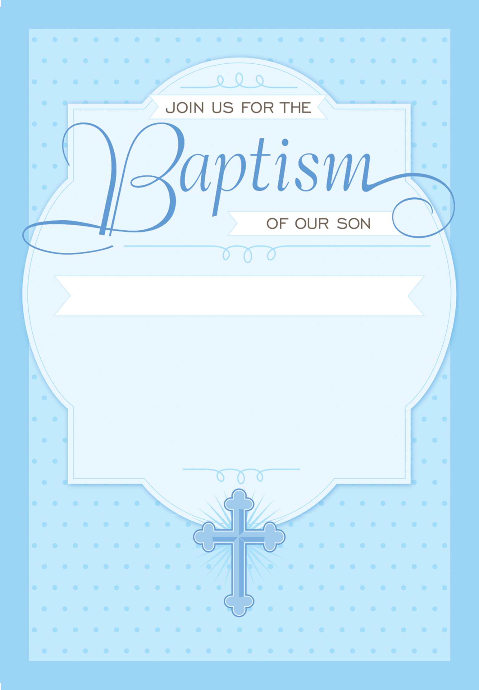 Dotted Blue Free Printable Baptism Christening Invitation