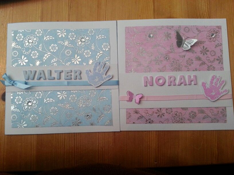 Two cards for the twins - christening