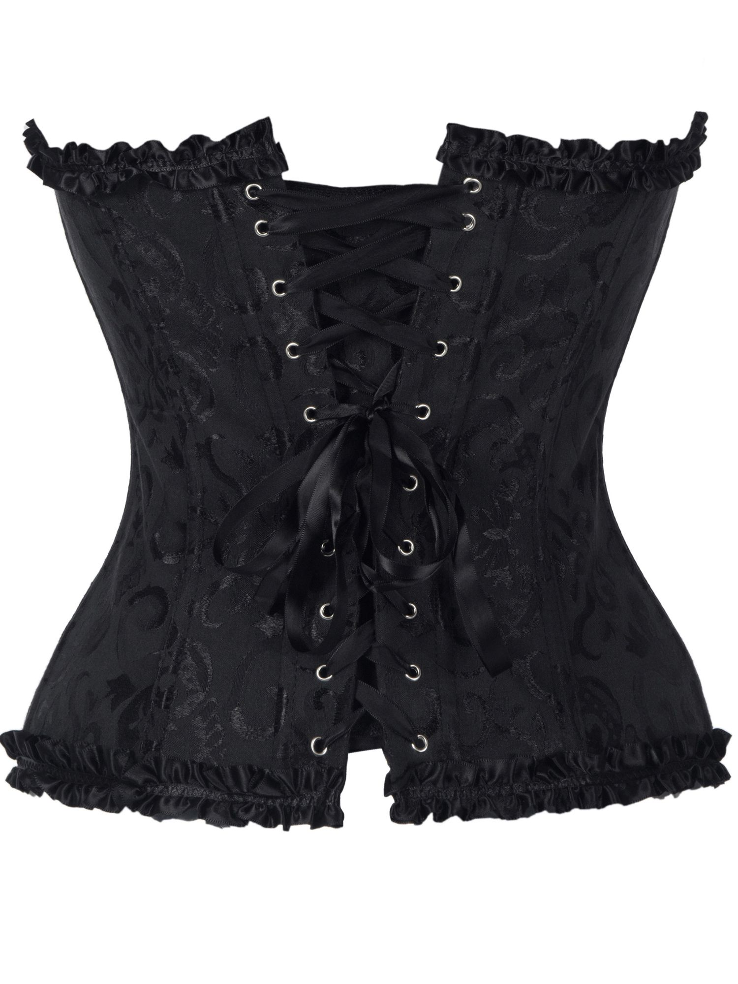 eed89a3879d00 SAYFUT Fashion Women s Lace Up Boned Sexy Overbust Corset Bustier Plus Size  Bodyshaper Top with G-String Black Size S-6XL Boned