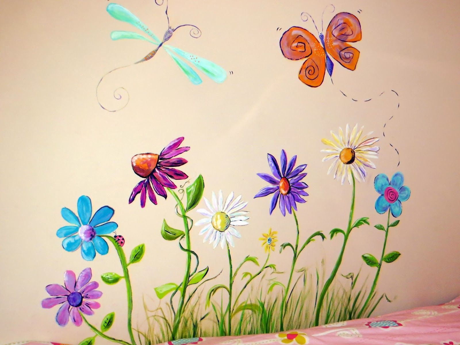 Flowers And Bugs Mural - Google Beb Rooms
