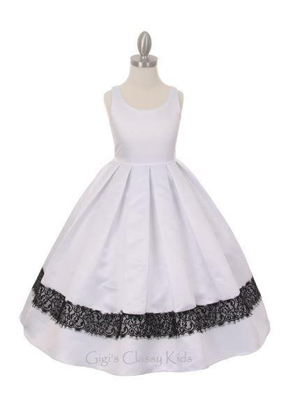 Elegant flower girls satin dress, available in white and ivory.