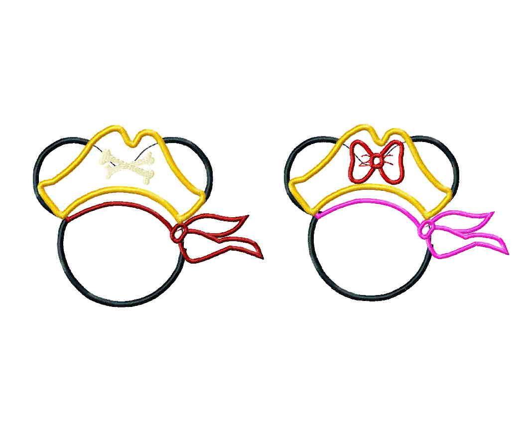 Disney inspired Pirate Mickey digital machine embroidery design - several sizes applique. $5.00, via Etsy.