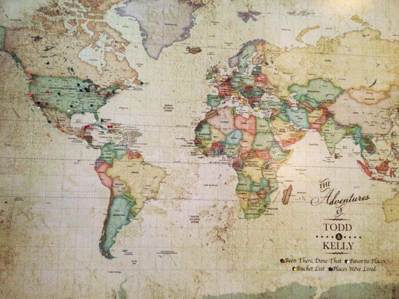 Push Pin Vintage World Map, Old World Charm, 24X36 Inches ...