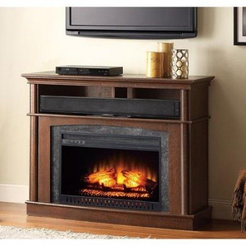 Fireplace Entertainment Center Electric Heater Flame Tv Stand Console Wood Brown Media Fireplace Fireplace Media Console Fireplace Console