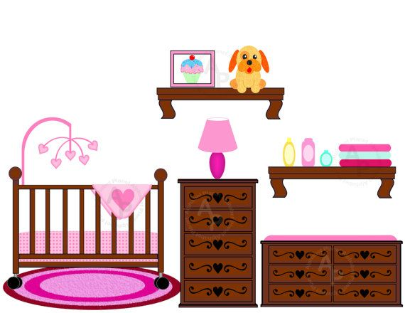 Crib Clip Art   Baby girl Nursery Crib Changing table digital clip ...