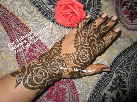 Flower Pattern Mehndi Designs : Simple beautiful flower pattern of heena design pics mehndi