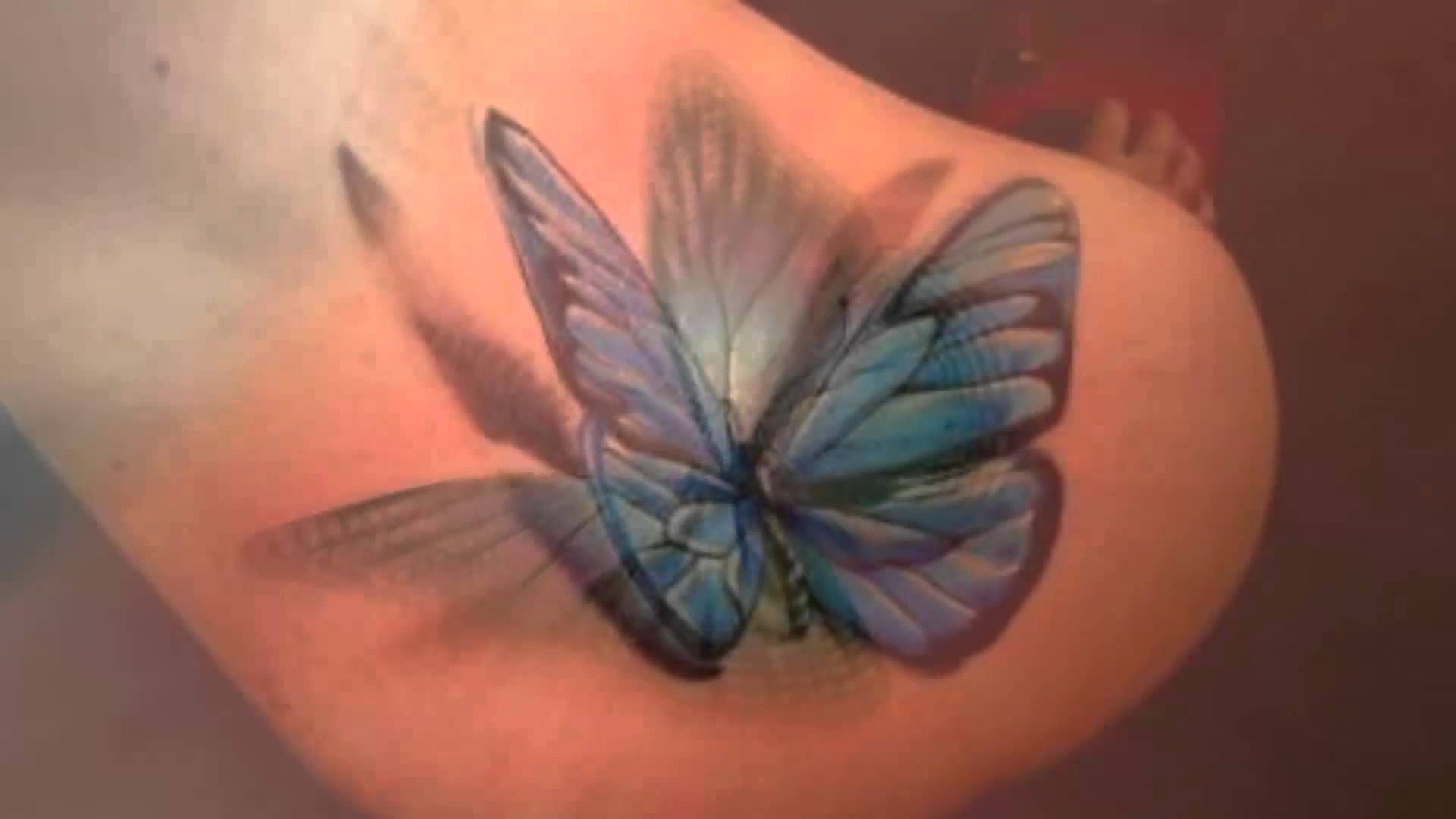 Blue 3d Butterfly Tattoo On Girl Back Shoulder 3d Butterfly Tattoo Butterfly Tattoo Designs Blue Butterfly Tattoo
