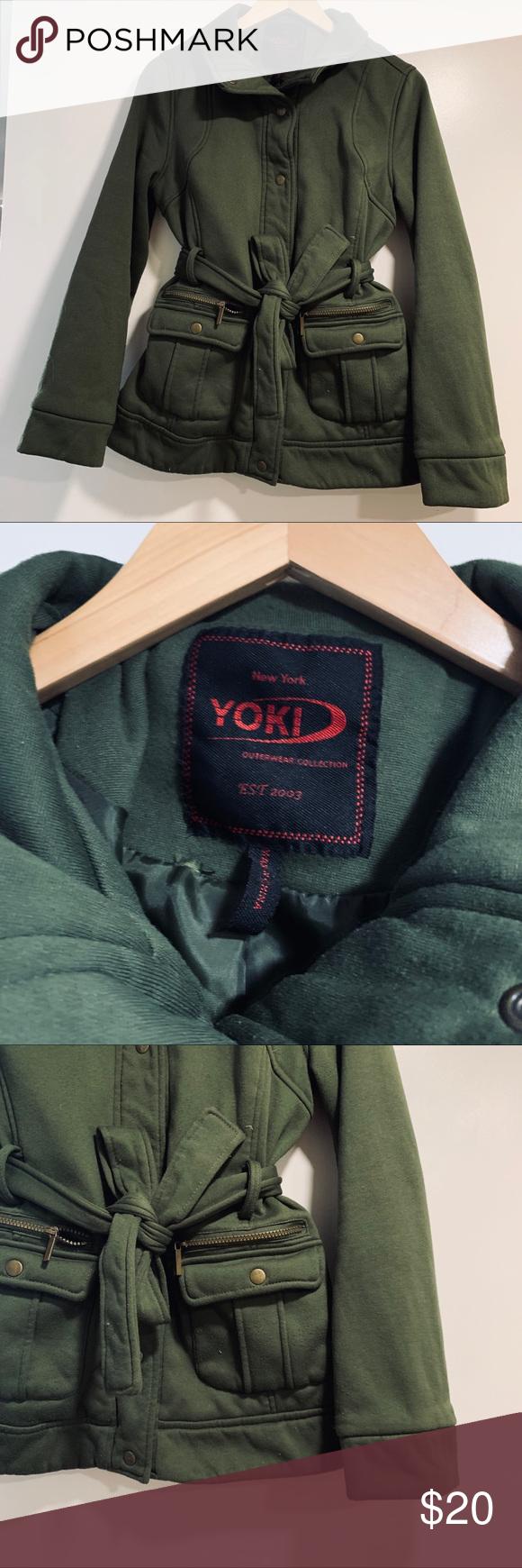 Yoki Outerwear Green Cotton Utility Jacket W Belt Outfits With Leggings Men Shirt Style Utility Jacket [ 1740 x 580 Pixel ]