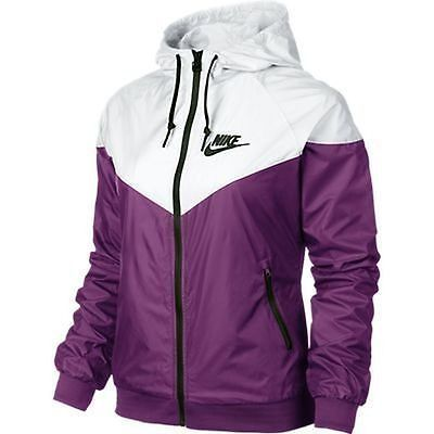 Nike WindRunner Women s Jacket Windbreaker Hoodie Purple White 545909-550 3386a40e5