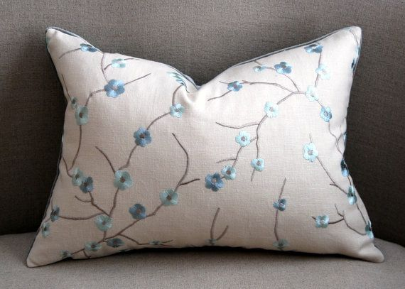 Decorative Pillow  Embroidered Cherry Blossom by HomemakerMovement, $55.00