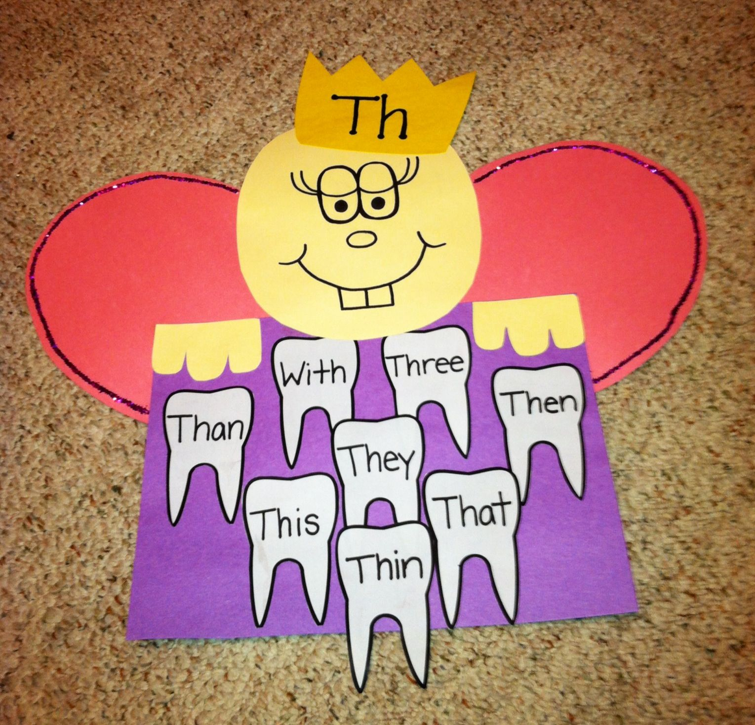 Practicing Th Words Tooth Fairy Craft