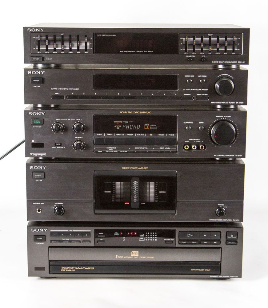 complete vintage sony stereo system from early 1990s. Black Bedroom Furniture Sets. Home Design Ideas