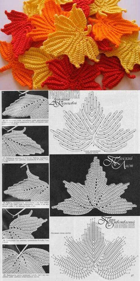 Sık iğne yaprak   Diseño   Pinterest   Blätter häkeln, Blätter und ...