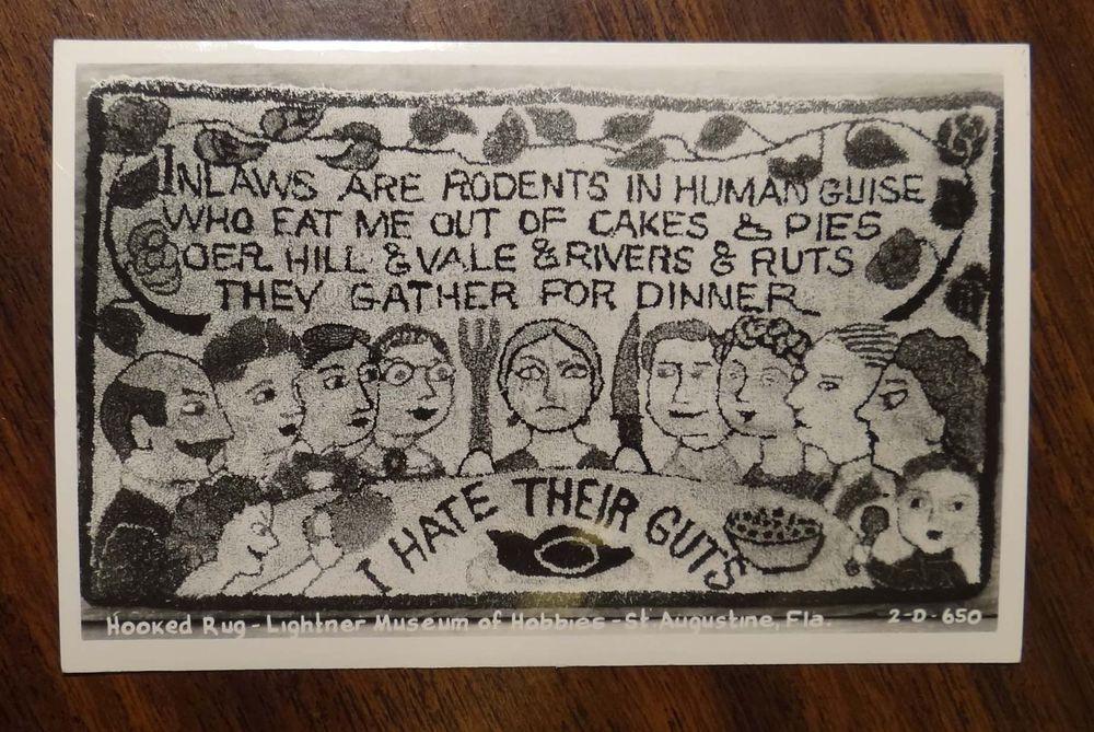 Inlaws Rodents Hooked Rug Lightner Museum St Augustine Fl Photo Postcard 1950s