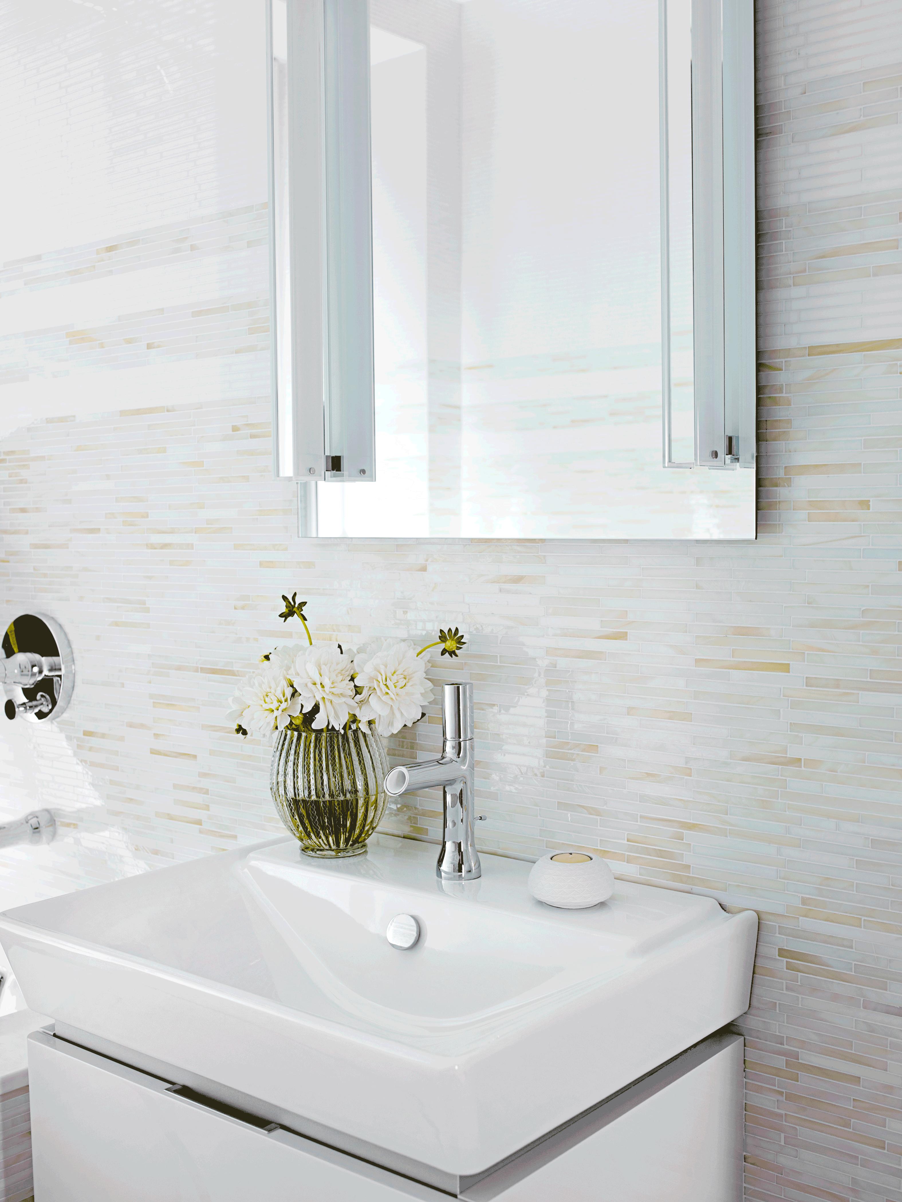 ANN SACKS Lume sticks glass mosaic in cream and white (designer ...