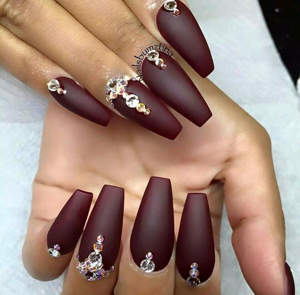 Oxblood with crystal accents on ballerina nails. | Nails ...