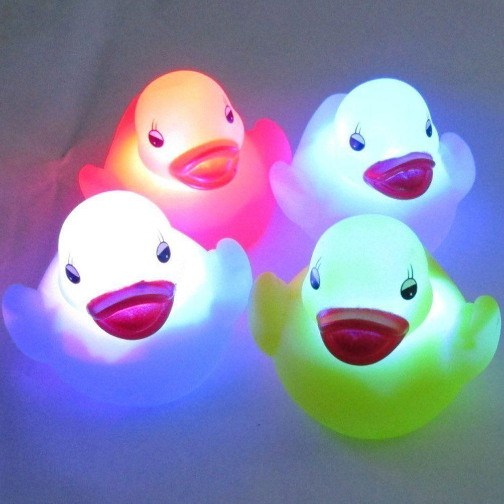 Childrens colour changing lights - 4 Waterproof Duck Colour Change Led Bath Toys Baby Kids Children Lamp Play Fun