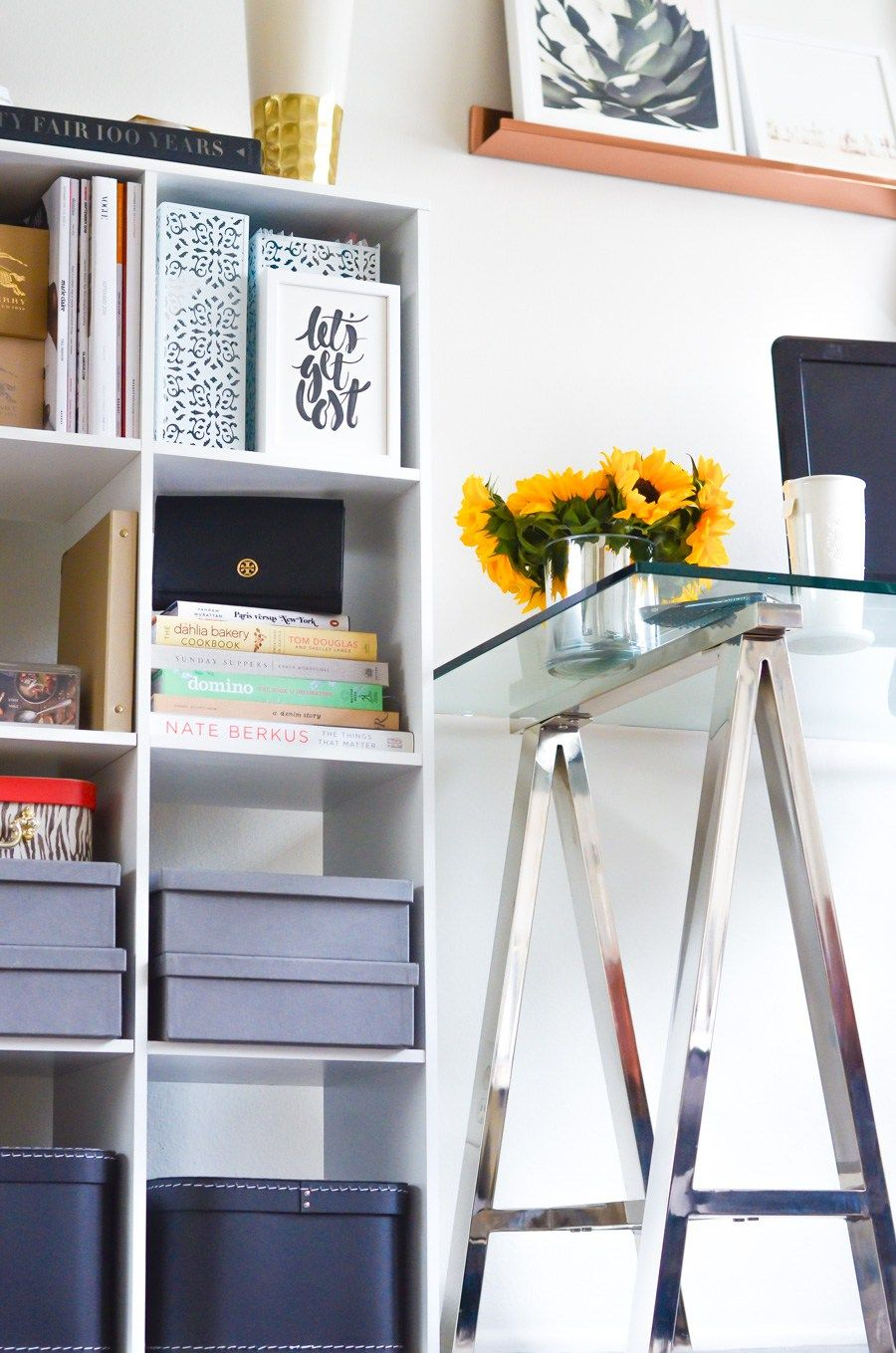 Fashion blogger home office desks shelves and storage